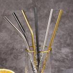 Milieuvriendelijke herbruikbare RVS metalen rietjes incl. schoonmaakset!